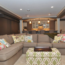 Modern Basement by Mary Best Designs