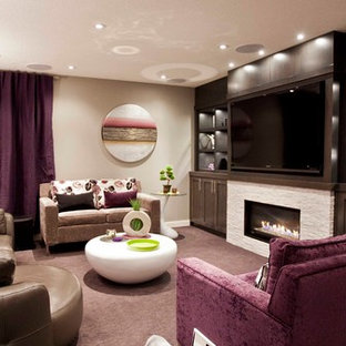 This is an example of a traditional basement in Calgary with purple floors.