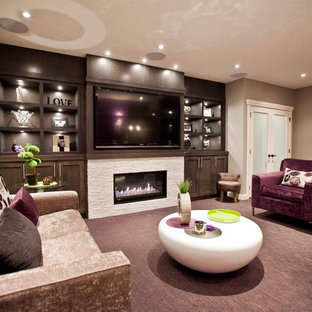 Photo of a classic basement in Calgary with purple floors.