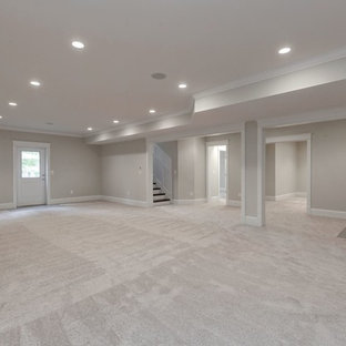 Inspiration for a huge farmhouse walk-out carpeted basement remodel in DC Metro with beige walls