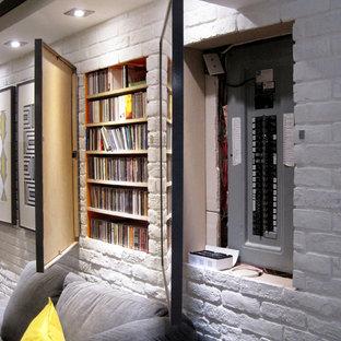 モントリオールのコンテンポラリースタイルのおしゃれな地下室の写真
