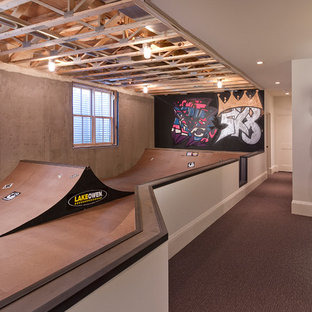 Example of a large transitional look-out basement design in Minneapolis