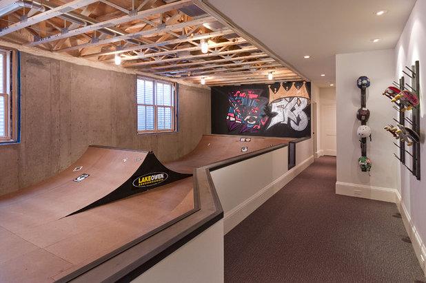 トランジショナル 地下室 by w.b. builders