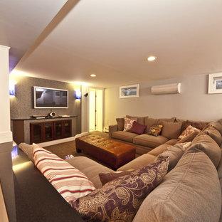 Inspiration for a modern basement remodel in New York
