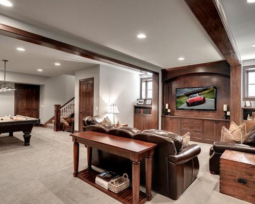 Basement rec room houzz for Basement rec room designs
