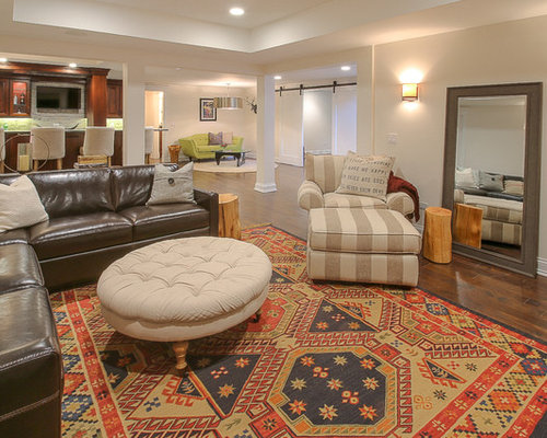 Country fully buried basement design ideas renovations for Country basement ideas