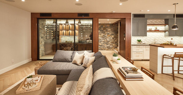 Transitional Basement by Noelle Interiors
