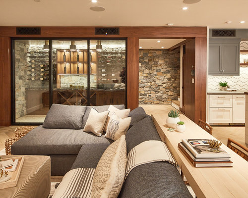 Basement   Transitional Light Wood Floor And Beige Floor Basement Idea In  Los Angeles With Beige