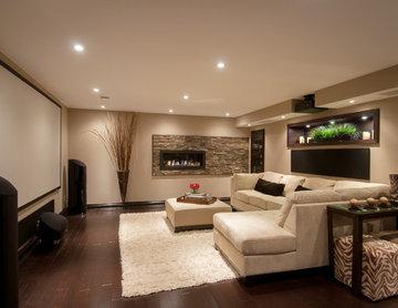 Modern Media Room Basement