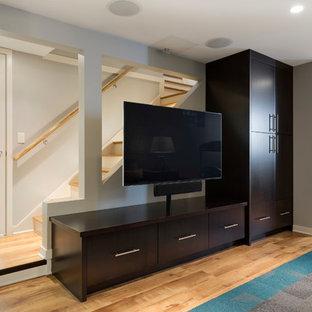 Cette photo montre un petit sous-sol moderne enterré avec un mur gris, un sol en vinyl et un sol marron.