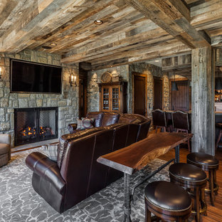Example of a mountain style underground medium tone wood floor basement design in Other with a standard fireplace and a stone fireplace