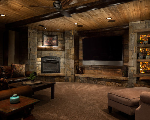 houzz rustic basement with porcelain floors design ideas remodel