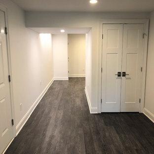Cette image montre un sous-sol design de taille moyenne avec un sol en vinyl et un sol noir.