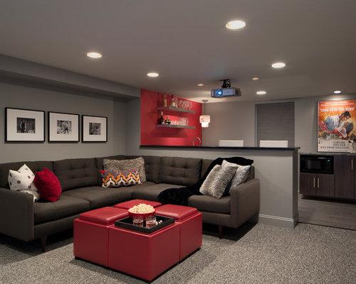 93 Red Couch Grey Walls Modern Basement Design Photos. Oz Modern Furniture  San Antonio It