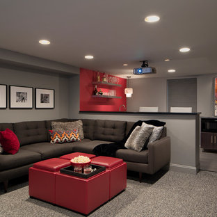 Basement - mid-sized modern look-out carpeted and gray floor basement idea in Boston with gray walls
