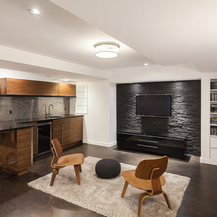 Medium sized modern fully buried basement in Ottawa with white walls, cork flooring, a standard fireplace and a stone fireplace surround.
