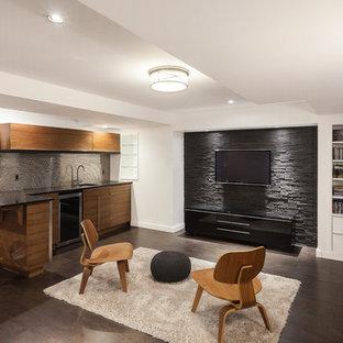 Basement - mid-sized modern underground cork floor basement idea in Ottawa with white walls & 75 Trendy Modern Basement Design Ideas - Pictures of Modern Basement ...