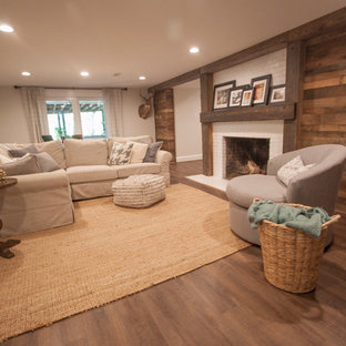 Inspiration For A Large Rustic Look Out Medium Tone Wood Floor And Brown Basement