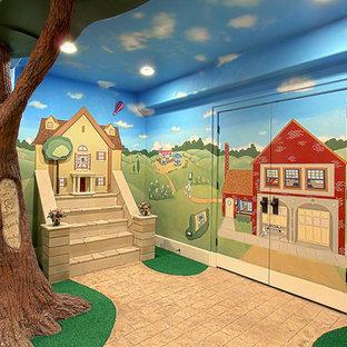 Réalisation d'un grand sous-sol bohème enterré avec un mur multicolore et aucune cheminée.
