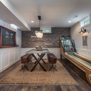 Neutral Rustic Transitional Basement