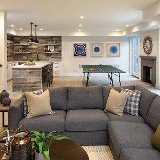Cette photo montre un grand sous-sol nature donnant sur l'extérieur avec un sol en carrelage de céramique, un manteau de cheminée en pierre, un sol gris, un mur beige et une cheminée standard.