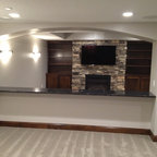 Basement Walk-up Bar & Fireplace - Traditional - Basement - Minneapolis - by Finished Basement ...