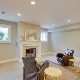 Large arts and crafts look-out carpeted and beige floor basement photo in DC Metro with gray walls, a standard fireplace and a tile fireplace