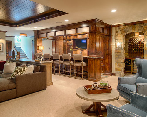basement dry bar. Large elegant carpeted and beige floor basement photo in Minneapolis with  walls Basement Dry Bar Ideas Houzz
