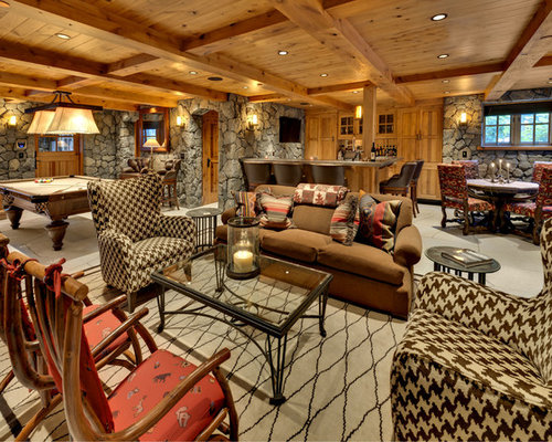 Rustic Finished Basement Design Ideas Pictures Remodel Decor