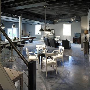 Inspiration pour un sous-sol design donnant sur l'extérieur avec un mur gris, béton au sol, aucune cheminée et un sol gris.
