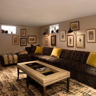 Inspiration pour un sous-sol traditionnel donnant sur l'extérieur et de taille moyenne avec un mur beige, moquette, une cheminée standard, un manteau de cheminée en brique et un sol bleu.