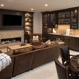 Example of a beach style carpeted and beige floor basement design in Minneapolis with white walls, a ribbon fireplace and a stone fireplace