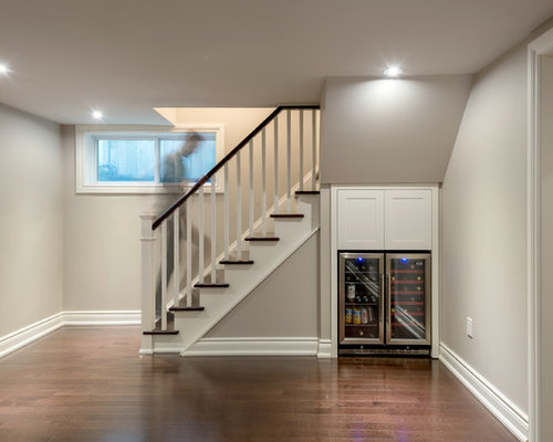 inspiration for a small transitional look out medium tone wood floor basement remodel in toronto - Small Basement Design Ideas