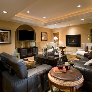 Basement - traditional underground carpeted basement idea in Philadelphia with beige walls and a ribbon fireplace