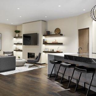 Inspiration pour un grand sous-sol minimaliste donnant sur l'extérieur avec un bar de salon, un mur blanc, un sol en bois foncé, une cheminée standard, un manteau de cheminée en plâtre et un sol marron.