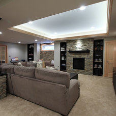 Traditional Basement by Diane Gordon Design LLC