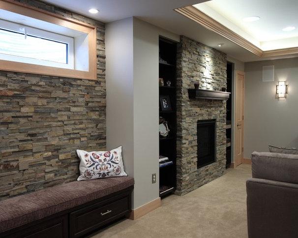 Traditional Basement by Diane Gordon Design LLC