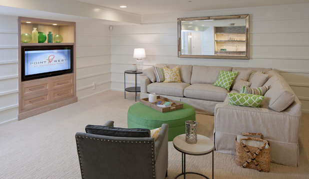 Beach Style Basement by Francesca Owings Interior Design