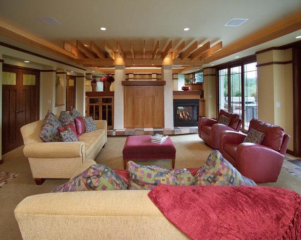 Contemporary Basement by JALIN Design, LLC
