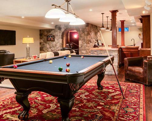 Basement rec room houzz for Rec room pools