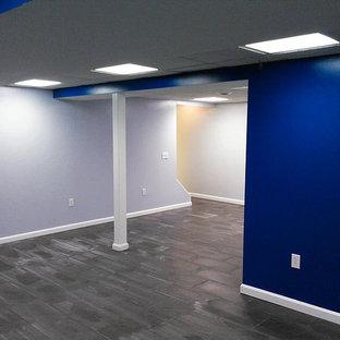 Exemple d'un sous-sol tendance enterré et de taille moyenne avec un mur bleu, un sol en ardoise, aucune cheminée et un sol gris.