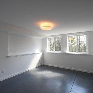 Modelo de sótano con puerta panelado, vintage, grande, panelado, con paredes blancas, suelo de cemento, suelo gris y panelado