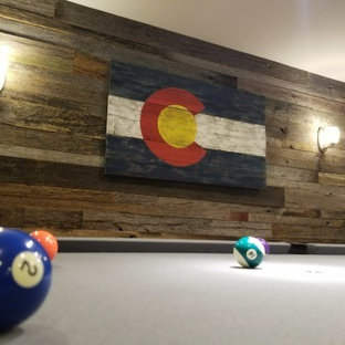 Mid-sized mountain style basement photo in Denver
