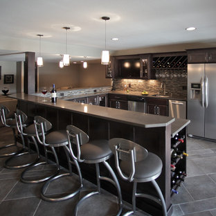 Inspiration for a contemporary basement remodel in Milwaukee