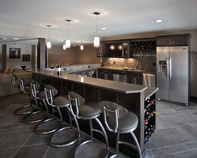 Contemporary Basement by AB & K Bath and Kitchen