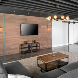 Reclaimed Wood TV Wall with Steel Accents