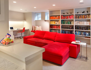 Red and white basement