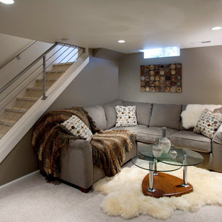 Inspiration for a contemporary basement remodel in Portland