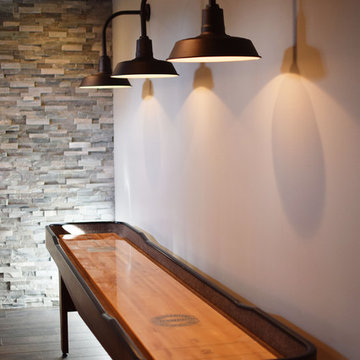 Refined and Rustic Basement