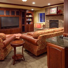 Traditional Basement by Solid Rock Custom Homes